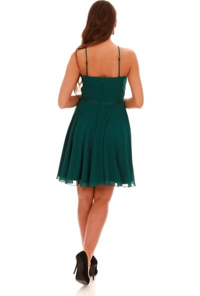 Carmen Zümrüt Beli Saten Askılı Kısa Abiye Elbise