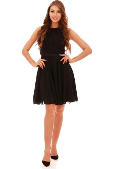 Carmen Siyah Beli Saten Askılı Kısa Abiye Elbise