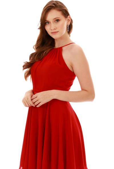 Carmen Kırmızı Beli Saten Askılı Kısa Abiye Elbise