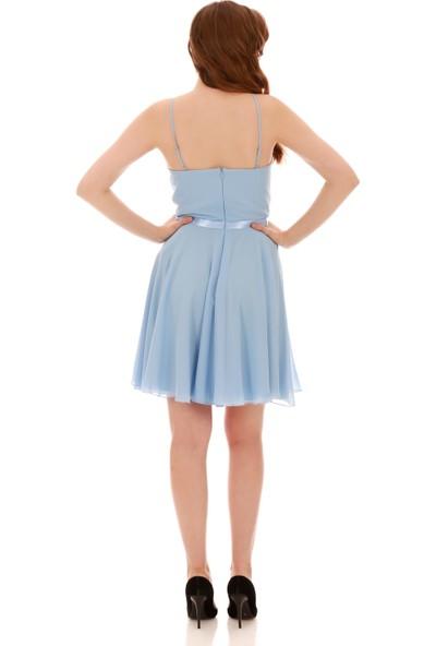 Carmen Bebe Mavi Beli Saten Askılı Kısa Abiye Elbise
