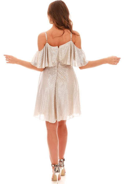 Carmen Gold Simli Düşük Kollu Askılı Kısa Abiye Elbise