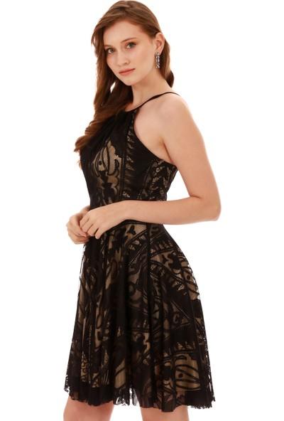 Carmen Siyah Dantel Askılı Kısa Abiye Elbise