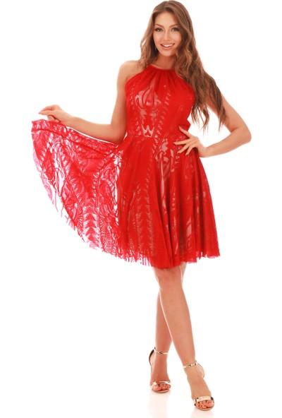 Carmen Kırmızı Dantel Askılı Kısa Abiye Elbise