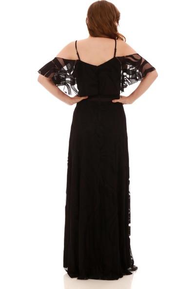 Carmen Siyah Dantelli Düşük Kollu Askılı Uzun Abiye Elbise