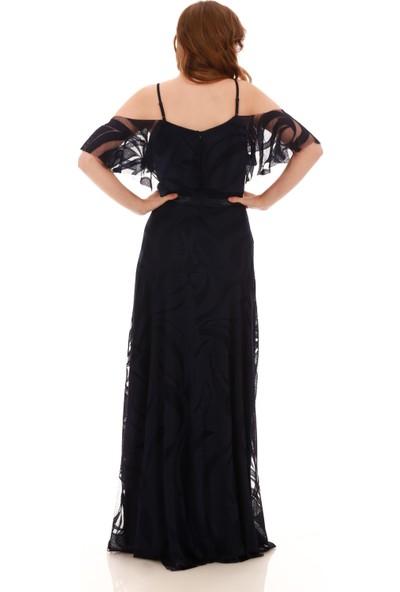 Carmen Lacivert Dantelli Düşük Kollu Askılı Uzun Abiye Elbise