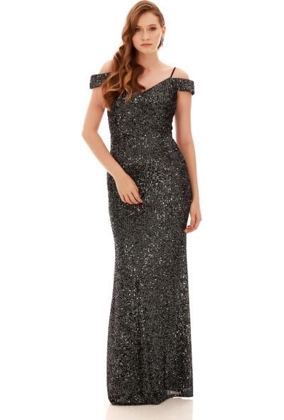 Carmen Antrasit Payetli Kayık Yaka Uzun Abiye Elbise