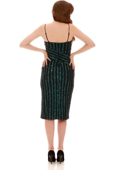 Carmen Yeşil Payetli Askılı Yırtmaçlı Kısa Abiye Elbise