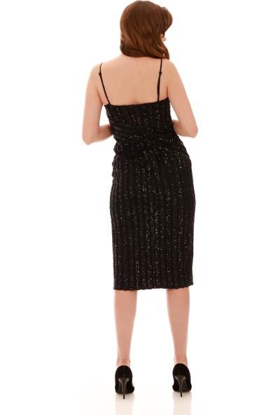 Carmen Siyah Payetli Askılı Yırtmaçlı Kısa Abiye Elbise
