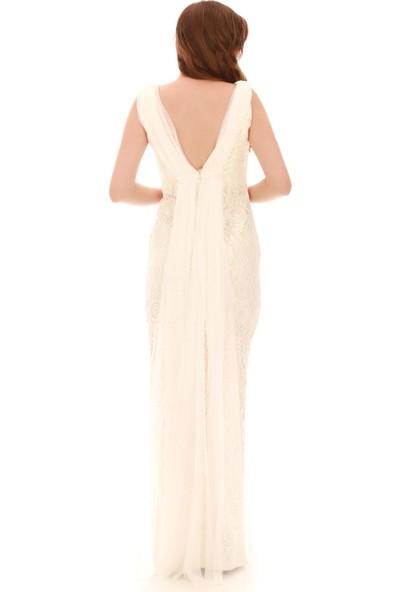 Pierre Cardin Ekru Dantel Işlemeli Uzun Abiye Elbise