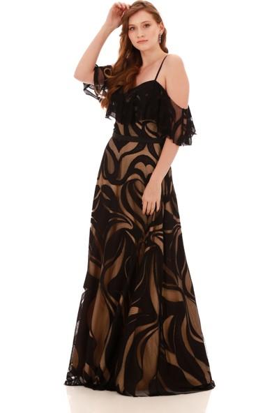 Carmen Gold Dantelli Düşük Kollu Askılı Uzun Abiye Elbise