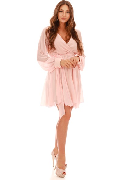 6Ixty8Ight Pembe Uzun Kol Kruvaze Kısa Abiye Elbise