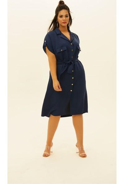 Lefital Kadın Lacivert Cepli Bolkesim Kuşaklı Elbise