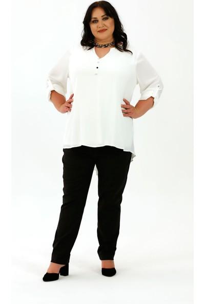 Lefital Kadın Beyaz V Yaka Düğme Detaylı Bluz