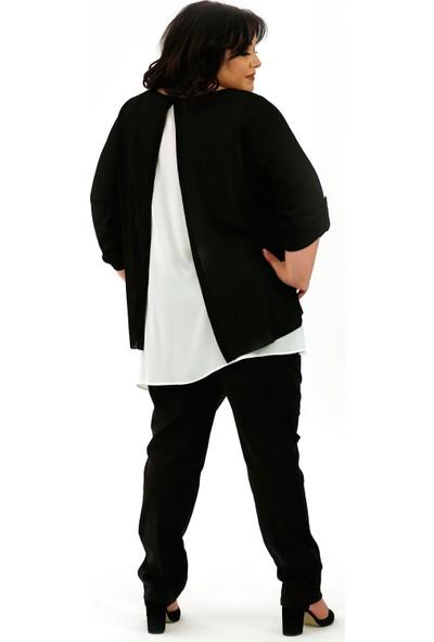 Lefital Kadın Siyah Beyaz Bolkesim Bluz