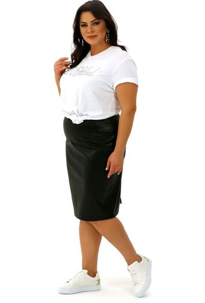 Lefital Kadın Siyah Suni Deri Etek