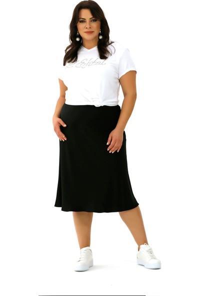 Lefital Kadın Siyah Saten Verev Etek