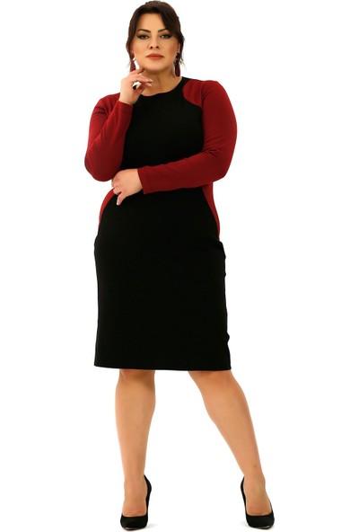 Lefital Kadın Siyah Bordo Likralı Midi Elbise