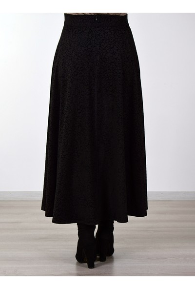 Sew&Design Flok Baskılı Süet Etek Siyah