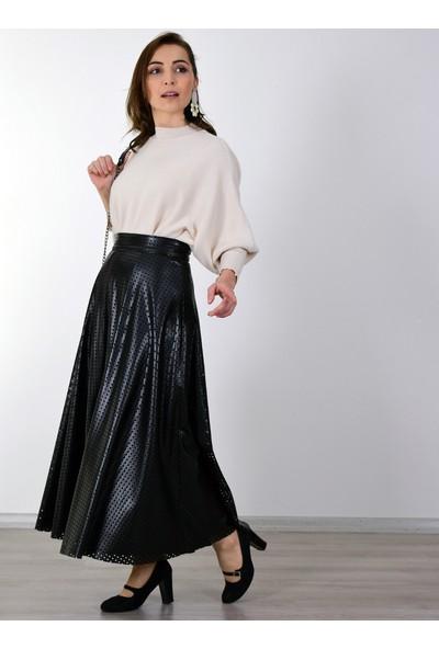 Sew&Design Mina Lazer Deri Etek Siyah