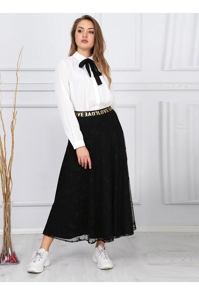 Sew&Design Lastikli Yıldız Desen Etek Siyah