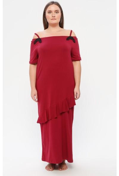 Siyah İnci Pamuklu Likralı Elbise Vişne