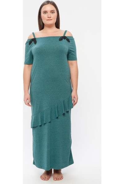 Siyah İnci Pamuklu Likralı Elbise Yeşil