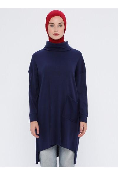 Çat Pat Tekstil Cep Detaylı Tunik İndigo