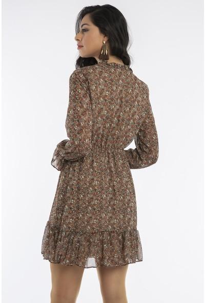 Hds Hadise Kiremit/Çiçekli Yakası Bağcıklı Beli Kuşaklı Şifon Elbise 20812