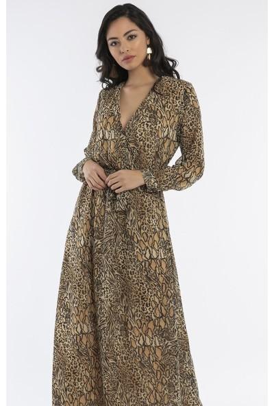 Hds Hadise Leopar Beli Kuşaklı Kuruvaze Elbise 20813