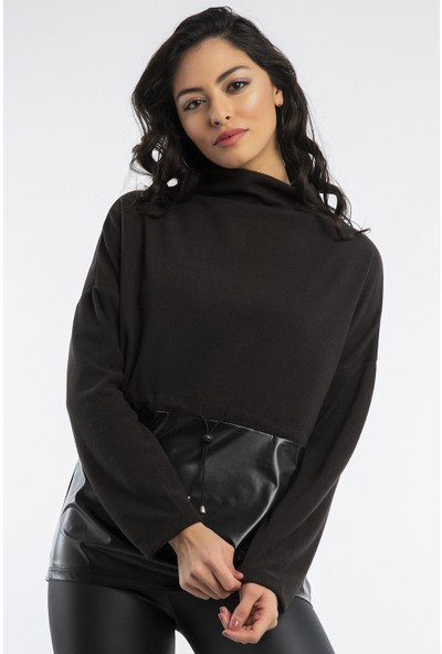 Hds Hadise Siyah Deri Dalgıç Sweatshirt 7090
