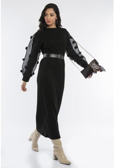 Hds Hadise Siyah Kemerli Balon Kol Elbise T8508-1