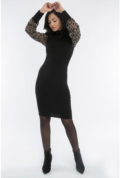 Hds Hadise Siyah Kolları Tül Desenli Elbise 0164