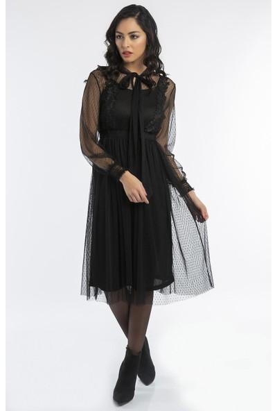 Hds Hadise Siyah Yaksı Kuşaklı Önü Dantelli Tül Elbise 20818