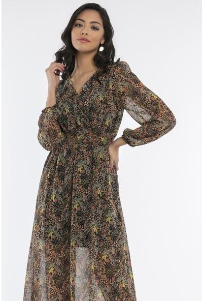 Hds Hadise Siyah/Çiçekli Beli Gipeli Yakası Çıtçıtlı Elbise 20846