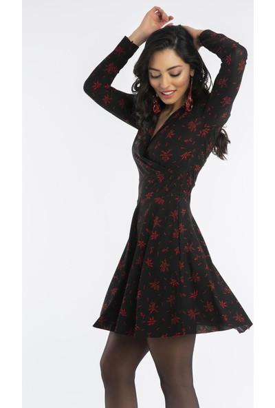 Hds Hadise Siyah/Çiçekli Desenli Kruvaze Elbise 2084