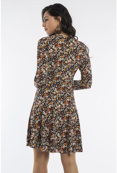Hds Hadise Siyah/Kırmızı Desenli Kruvaze Elbise 2084