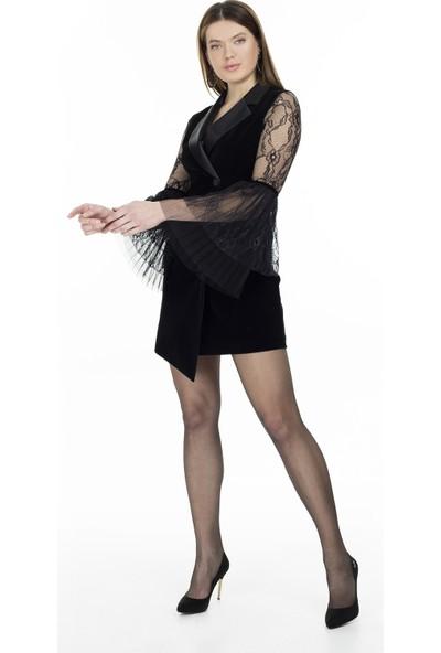 Via Dante Kolları Dantel Detaylı Kruvaze Yaka Elbise Kadın Elbise 04661389Vd