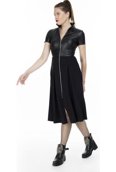 Via Dante Deri Detaylı Önden Fermuarlı Midi Elbise Kadın Elbise 04661408Vd