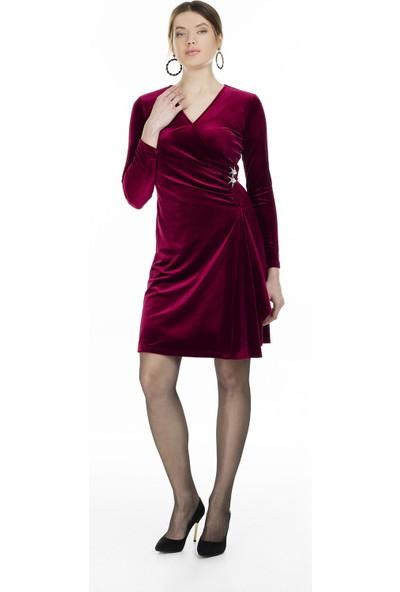 Via Dante V Yaka Kadife Elbise Kadın Elbise 04661412