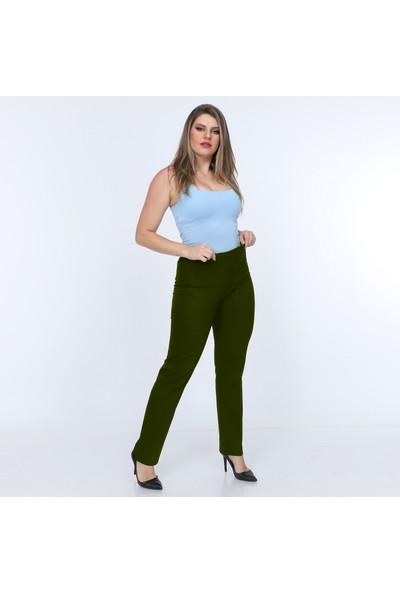 Osman Bey Kadın Büyük Beden Beli Tam Lastikli Yüksek Bel Likralı Kumaş Pantolon Askeri Yeşil