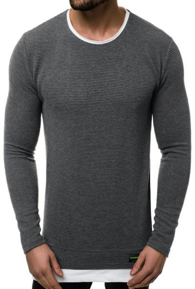 Mach Etek Yaka Garnili Ottoman Erkek Sweatshirt