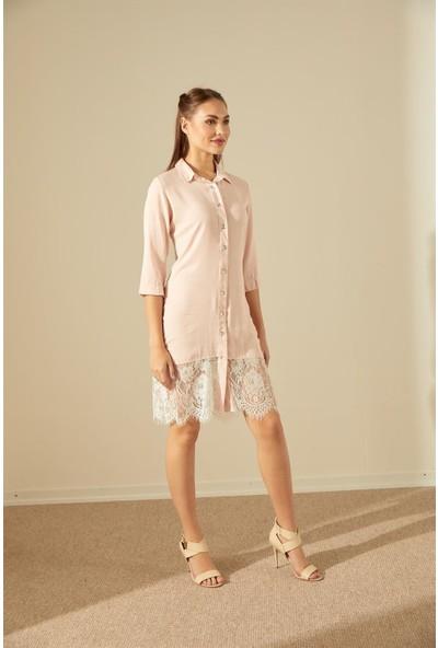 Trendmay Dantel Detay Gömlek Elbise-Pudra