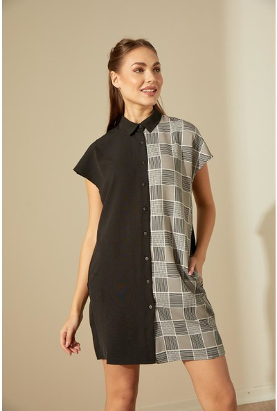 Trendmay Ekoseli Kuşak Detay Elbise-001