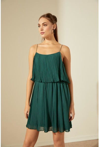 Trendmay Askı Detay Pliseli Elbise-Yeşil