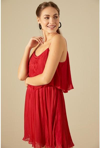 Trendmay Askı Detay Pliseli Elbise-Kırmızı