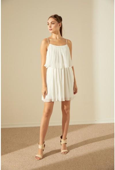 Trendmay Askı Detay Pliseli Elbise-Beyaz