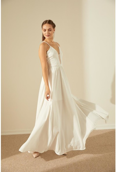 Trendmay Sırt Dekolteli Yırtmaç Detay Elbise-Beyaz
