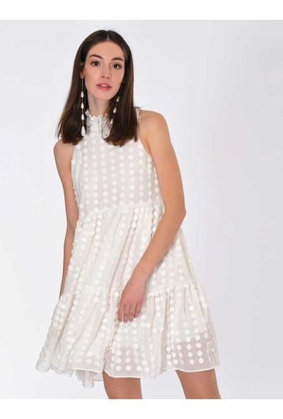Roman Puantiyeli Beyaz Elbise