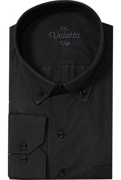 Varetta Büyük Beden Yaka Düğmeli Gömlek Siyah 4xl