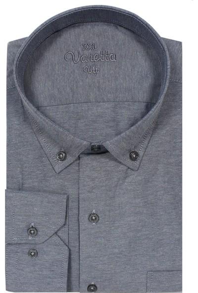 Varetta Büyük Beden Yaka Düğmeli Gömlek Gri